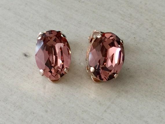 Oval Blush Rose Swarovski Crystal Clip On Earrings, Rose Gold