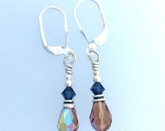 Swarovski Colorado Topaz and Montana Blue  Crystal  Earrings Silver Lever Backs by Kate Drew-Wilkinson