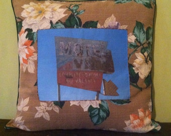 "One of a kind 18x18"" throw pillow made with vintage fabric featuring original roadside photograph"