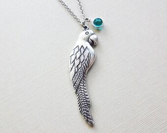 Parrot Necklace Animal Woodland BFF Friend Birthday Gift Friendship Bridesmaid Gift Silver Jewelry Swarovski Channel Crystal Birthstone