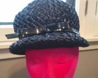 Vintage 1960's ladies mod navy bill hat Womans hat