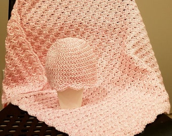 Handmade Crochet Baby Blanket, Baby Girl Blanket, Light Pink, Stroller, Travel, Car Seat Baby Blanket, READY TO SHIP
