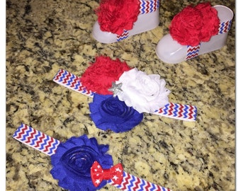 4th of July headbands & barefoot sandals, Fourth of July, shabby chic, red, white, blue, barefoot sandals, bow