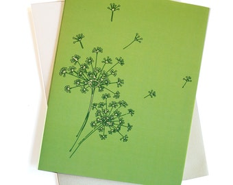Dandelions in Lime - Card set of 8