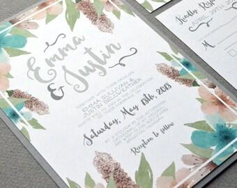 Watercolor Wedding Invitation Suite, Floral Wedding Invitations, Gray Teal and Blush Wedding Pocket Invitation Set, Rustic Wedding Invites