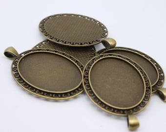 5 pcs Oval Antique Brass Bezel - for 30x40mm - Oval Pendant Blank Bezel for Cabochon Cameo Pendants, Photo Jewelry - T154