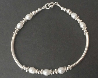 White Pearl Sterling Silver Noodle Bracelet, Bangle Style Pearl Bracelet, Pearl Noodle Bracelet, Bridal Jewellery, Pearl Jewelry Gift,