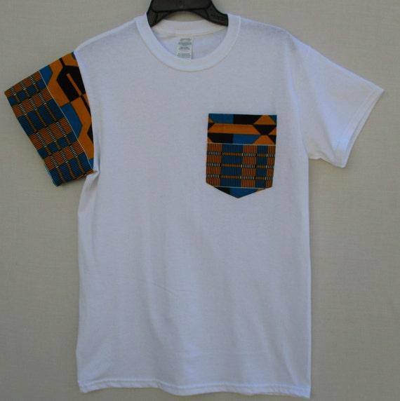 Tribal Print T shirt, Unisex T Shirt, African Print T shirt, Pocket T Shirt, Wax print shirt