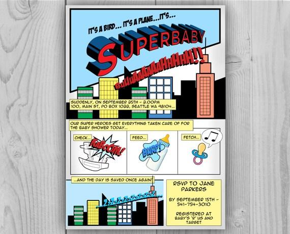 Superbaby Invitation - Superman Baby - Superman Baby Shower - Superbaby Invite - Comic Baby Shower - Superbaby - Superhero Baby - Super Baby