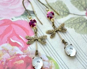 Dragonfly Earrings, Vintage Crystal Earrings, Long Dangle Earrings, Dainty Brass Dragonfly Jewelry, Boho Dragonflies, Gift for Mothers Day