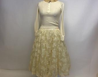 Handmade Vintage lace Ecru Tea Stained Ballerina Skirt OOAK