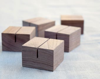 Square Walnut Wood Card Holders Set | Small sign stands | Menu card holders | Table number holders | Retail store sign stands