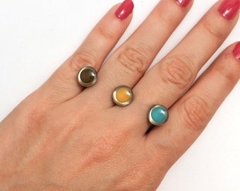 On Sale Was 110. Ellipsis Ring  (OOAK Enameled 3D Printed Ring)