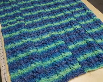 Neon blue, green and purple baby blanket