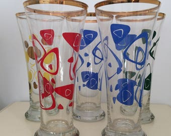 Cool, Vintage Retro, Mid-century Highball Glasses x 5