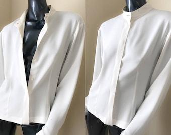 GIORGIO ARMANI Ivory Crepe Blouse, Minimalist Blouse with Mandarin Collar Long Sleeves Un-Tuck Large  Size 48
