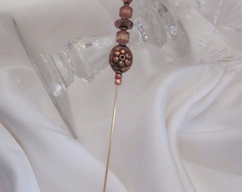 "Scarf Pin Gold Beaded Brooch Lapel Hat Hijab Scarf Pin Stick 6"" Inch Long - Many to Choose From! (#13)"