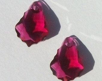 Clearance - Swarovski Elements Crystal Pendant  BAROQUE 6090 Crystal Pendant Beads RUBY - Available in 16mm