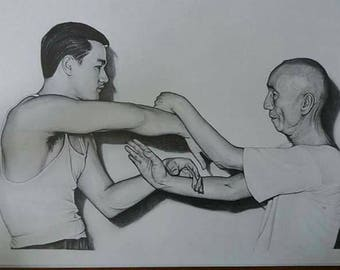 A3 size print of my Bruce Lee and IP Man portrait hand signed