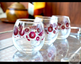 Vintage RETRO Cognac Snifter Glasses – Roly Poly With Red Flower Motif - AU – 1950s - TW016