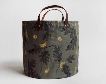 Oak & Acorn Medium Basket. Bucket Bag. Storage Bag. Project Bag. Tote. Yarn Basket. Knitting Bag. Fabric Bucket.