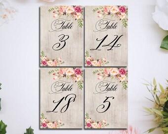 imprimibles rústico madera floral boda mesa 5 x 7 tabla de números números 1-20 tabla de números, archivos digitales para imprimir Boho boda decoración DIY