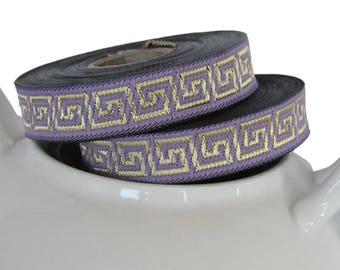 Lavender and Gold  15mm  Greek Key Jacquard Ribbon Trim  1 roll 10 meters