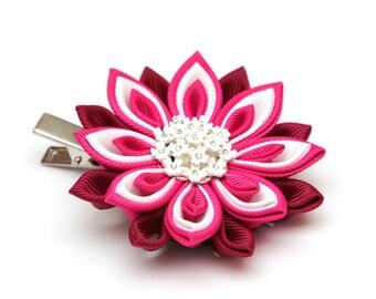 Pink, white and burgundy Kanzashi  flower hair clip. Japanese hair clip. Kanzashi hair flower.  Japanese Fabric Flower Clip.