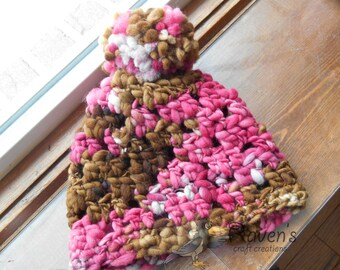 SALE! Merino Wool Cherry Pie Beanie- READY to SHIP- Child/Youth size, hand spun, hand dyed
