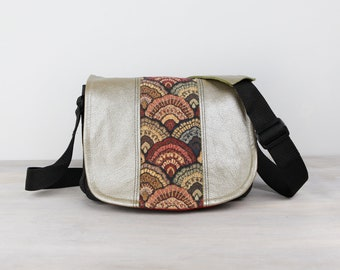 Handmade Leather Camera Bag Compact- Olive Opalescent Bag & Clam Shell Tapestry DSLR - IN STOCK