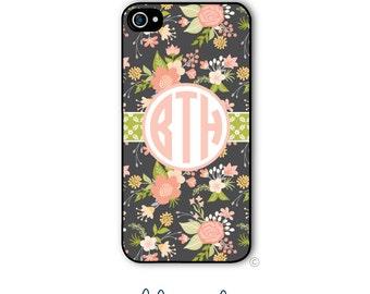 Personalized iPhone Case Custom Monogram Case iPhone 5 5s 5c 6 6s 6 Plus, Samsung Galaxy S4 S5 S6 Tough Phone Case Vintage Floral Style 183