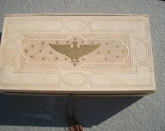 Vintage Antique Stationary Box with Embossed Eagle Design