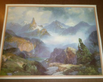 Original genuine vintage print Thomas Moran c1930 Index Peak Wyoming Yellowstone National Park exceptional
