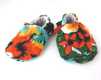 Hawaiian Baby Shoes, Flower Fabric Shoes, Cloth Baby Shoes, Handmade Baby Shoes, Elastic, Baby Accessories, Gift Idea, Baby Shower, Colorful