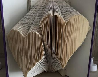 2 hearts Book Folding Template
