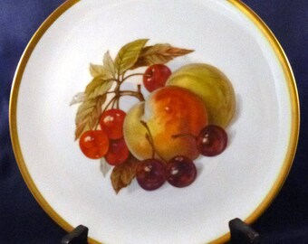 Vintage Bavaria Jaeger Germany Harvest Salad Plate with Peaches and Cherries, Discontinued: 1964 - 1970