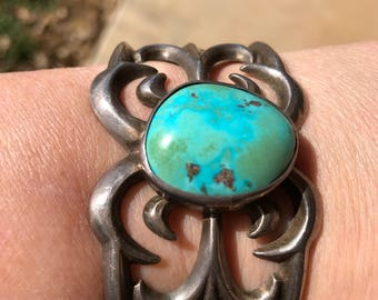 Antique Turquoise & Sterling Silver Cuff Bracelet