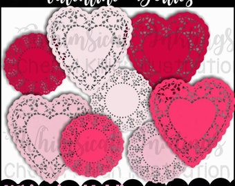 Valentine Doilies Clipart Collection- Immediate Download