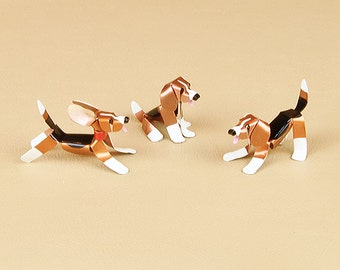 Beagle Puppy Dog Sculpture Handmade Copper Miniature Collectible Art, Beagle Art , Beagle Figurine, Beagle Memorial