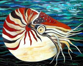 Nautilus Card - Sea Shell Card - Mosaic Art - Greetings Card - Nautilus Shell - Sea Creature - Birthday Card Ammonite Fossil Nautilus Mosaic