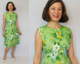 1960s Dress / 60s Dress / Floral Dress / 60s Day Dress / 1960s Day Dress / Summer Dress / Sleeveless Dress / Cotton Dress / Day Dress / W29""
