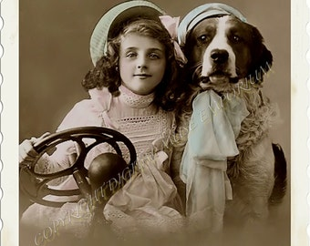 Instant Download Vintage Photograph - Girl and Dog Go For a Ride