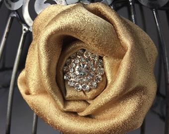 Gold hair clip, gold hair accessory, gold hair flower, girls hair flower, flower hair clip, gold and pearl hair accessory