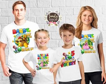 Super Mario tee, Custom boys shirt, Birthday girl shirt, Birthday party shirt, Matching birthday, Birthday party tees, Gift for girl, B 127