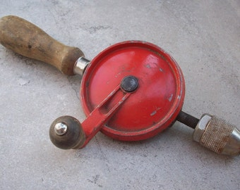 Vintage Hand Held Drill  ~  Red Handheld Drill  ~   Red Handheld Rotary Drill  ~  Made in USA