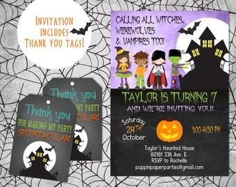 Halloween Birthday Invitation, Dress Up Party, Trick or Treat Party, Halloween Invitation