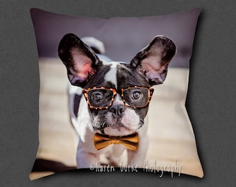 French Bulldog, Square Pillow, Throw Pillow, Home Decor, Frenchie Lover, Funny Bulldog, Whimsical Decor, Dog Lover Gift, Cool Dog