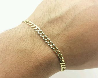 "14k Solid Yellow Gold High Polish Cuban Curb Link Chain Bracelet 8.5"" 4.7mm"