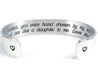 """Daughter-In-Law Gift - """"(name), you were hand chosen by my son and are like a daughter to me. Love, (name) ~ 1/2"""" secret message cuff"""