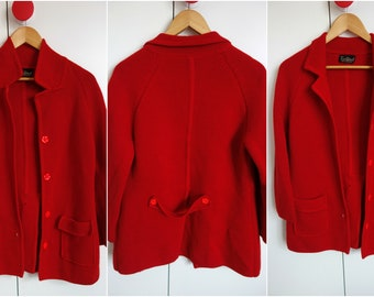 Lovely 1960s 1970s Vintage Red Cardigan Jacket 12 Mod
